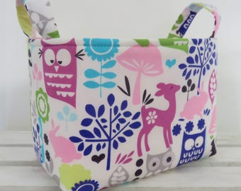 READY TO SHIP - Storage and Organization  -  Forest Life Animals on White - Fabric Organizer Bin Storage Container Basket