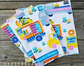 Lunchbox Napkins | Food Trucks | Cloth Napkins | Cloth Wipes | Reusable Napkins from green by mamamade