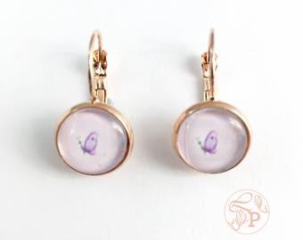 Butterfly rose gold earrings / rose gold pierced earring / rose gold jewellery / butterfly jewelry gift / pale pink / purple butterfly
