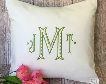 Chinoiserie Monogram Pillow Cover. 18 x 18 Decorative Throw Pillow. Baroque font. Embroidered Linens. Wedding Gift. Graduation Gift.