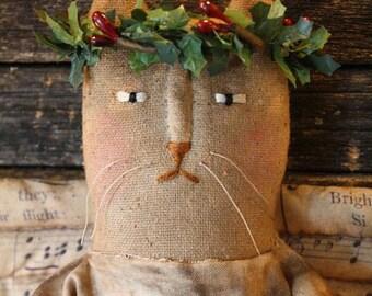 Primitive Folk Art Christmas, Miss Holly Angel Cat Doll Pattern, Primitive Christmas, Doll Pattern
