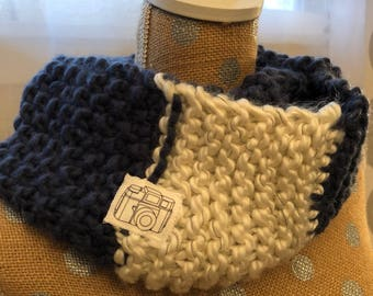 Knit blue and white reflective infinity scarf