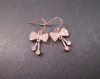 Bow Earrings, White Cubic Zirconia Pave, Rose Gold Dangle Earrings, FREE Shipping U.S.