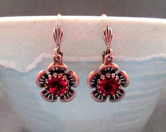 Rhinestone Flower Earrings, Red Glass Stones and Copper Dangle Earrings, FREE Shipping U.S.