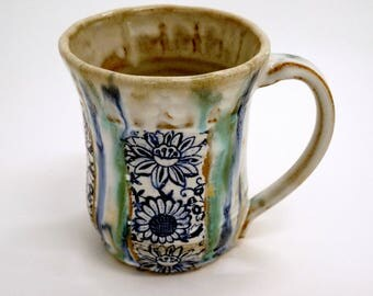 Vintage Garden Hand Created Thrown Large Stoneware Blue and White Transferware Mug with Flowers
