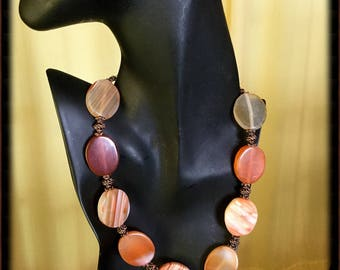 Red Agate and Antique Copper Necklace