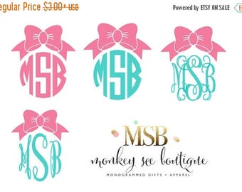 ON SALE Solid Custom Monogrammed Preppy Bow Vinyl Decal in Assorted Size Options