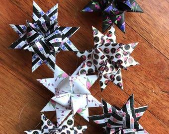 Moravian Paper Star Ornaments ~Black Floral Stripes Dots (3 inch)