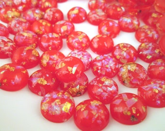 10 12mm Red Resin Foil Cabochons, color cabs G229