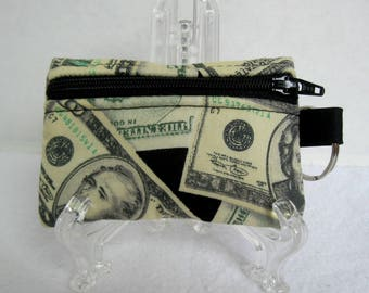Coin Purse Key Chain - Money Change Purse - Small Zippered Pouch - Money Fabric - Coin Purse with Key Ring - Cash Earbud Case