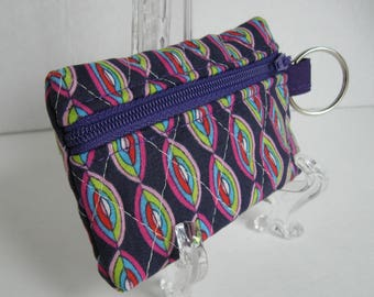 Quilted Coin Purse - Purple Ovals Modern Print - Change Purse - Small Zippered Pouch - Coin Purse Key Chain - Ear Bud Case