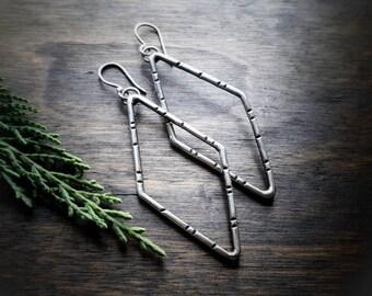 Diamond Shaped Earrings - Sterling Silver Earrings - Hand Stamped Jewelry - Rustic Earrings - Long Dangle Earrings - Eco Friendly - Boho
