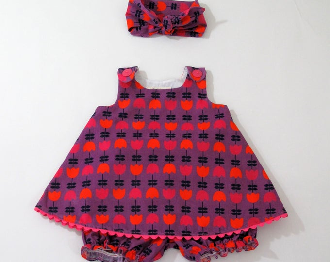 Purple Corduroy Tulips Girls Dress,  Purple Dress with Orange & Pink Tulips, Sizes Newborn to Girls 6