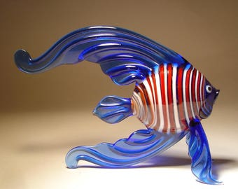 Handmade Blown Glass Art Figurine BLUE Striped ANGELFISH Fish