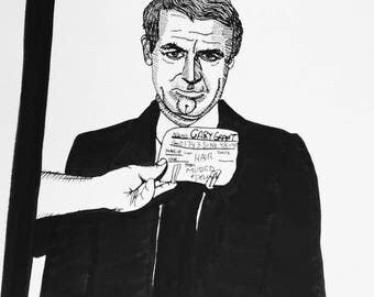 RESERVED ROSEMARY Cary Grant 9x12 ink line drawing