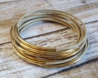 SALE - SIZE 8 - Petal & Gold Leather Bracelet - Leather Bangle - Leather Bracelet - Boho Bracelet - Boho Stackable Bracelets