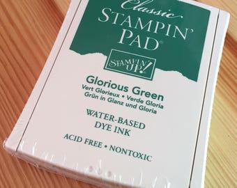 Glorious Green Stampin' Up Ink Pad - Water-Based Dye Ink - Brand New in Package - NIP Unopened