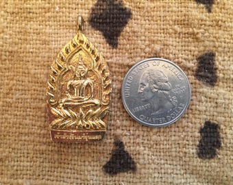Golden Bronze Thai Sitting Buddha with Naga Amulet Pendant