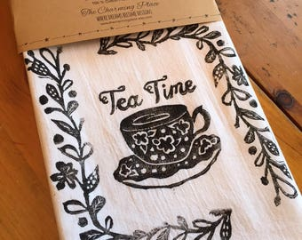 Tea Time Wine  Tea Towel, Flour Sack Towel, Dish Towel,Housewarming Gift,Funny Dish Towel,Hostess Gift, Farm House Decor,Block Printing,bee