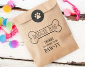 Doggie Bag - Kraft Paper Favor Bags - Kids and Puppies Birthday - Dog Biscuit or Cookie Bag - 10 wax lined bags