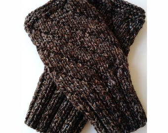 TWEEDY BROWN Darting Diagonals Fingerless Gloves, Merino Wool Knit Mitts / Gauntlets for Men and Women, Unisex, Mitts, Mittens, Texting