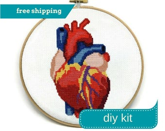 Anatomical Heart Cross Stitch Kit DIY - Everything You Need - Needlepoint Kit - 8 Inches - Anatomical Embroidery - Heart Embroidery