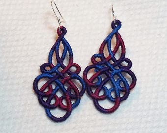 FSL Variegated Purple/Blue/Hot Pink Earrings
