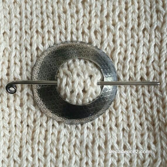 Dragon Scales Sterling Silver Shawl Brooch Circle Pin