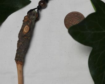 Knotted Avalon Apple Wood Wand Pendant - Pagan, Wicca, Witchcraft, Ritual, Ogham Tree