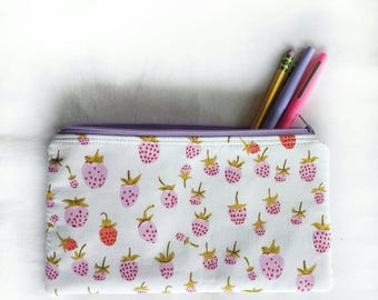 berry sweet zipper pouch, school pencil or art supply bag, perfect for epi-pen, or travel cosmetic makeup purse in Heather Ross strawberries