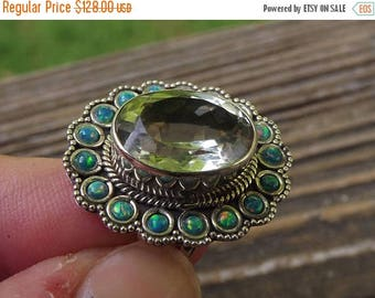 ON SALE Good Fortune stone - Green Amethyst - Prasiolite plus Fire Opal - Sterling Silver Ring - size 7 - love - healing - reiki