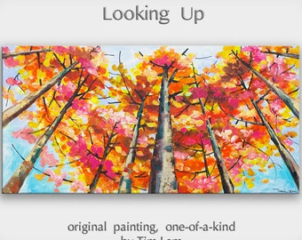 Sale Original art Abstract Painting large Oil Painting, aspen tree art fall Landscape Painting Changing Season by tim lam 48x24x1.3