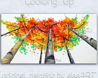 Sale Original abstract painting oil painting Tree art Looking Up forest on gallery wrap canvas Ready to hang by tim Lam 48x24