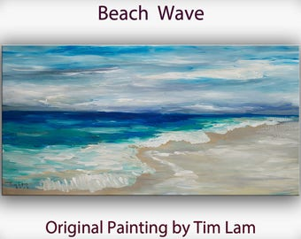 Landscape painting wall art abstract wall decor sea art Beach Wave large oil painting modern canvas art Wall hanging by tim Lam 48x24