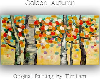Tree art Original abstract painting autumn forest on oil painting canvas Ready to hang by tim Lam 48x24