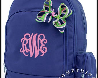 Buckingham Collection Monogrammed Backpack and Hairbow, Personalized School Bags for Girls, Navy Bookbags for kids, matching hairbow
