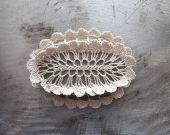 Crocheted Stone, Handmade One of a Kind Unique Decorative Doily Gift, Ruffled Edge, Bohemian Beach, Small, Ecru, Miniature Art, Collectible