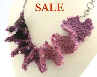 S A L E - Yarn Spiral Necklace Knitting Kit - Cherry