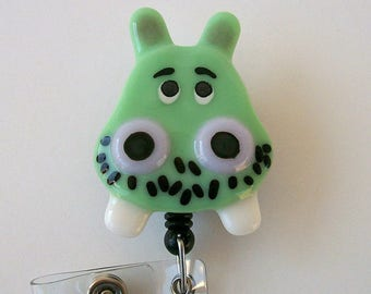 Fused Glass retractable badge holder Light Green Hippo