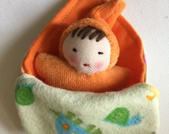 Orange gnome baby, Waldorf doll, pocket doll,  gift for children