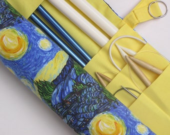 large knitting needle case - knitting needle organizer - starry night print- 36 pockets