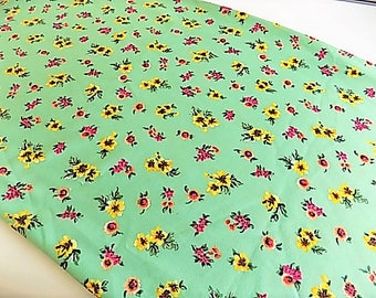 Vintage Polyester Kelly Green Floral Fabric