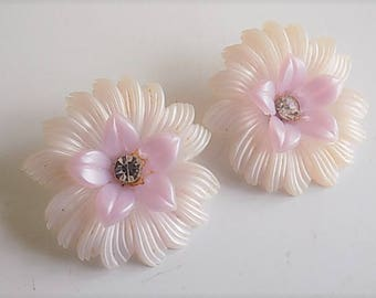 FREE SHIPPING Large Vintage Clip On Plastic Floral Earrings with Rhinestone Accent