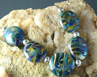 Lampwork beads/SRA lampwork/beads/Double Helix/silver blue/metallic
