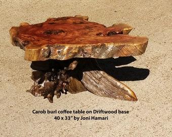 Carob Burl Coffee Table with Turquoise inlay, Alaskan Driftwood base, live edge wood slab, by Joni Hamari