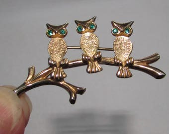 Vintage Gold Painted Three Owls on branch Pin Brooch, With Green Rhinestone Eyes,  costume jewelry, bird, 60s