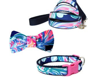GOING COASTAL Dog Collar and/or Leash on Navy with Bow or Flower Option Made from Lilly Pulitzer Fabric Size: Your Choice