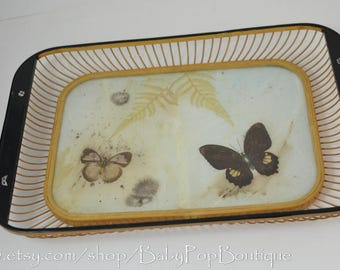 Mid Century Bamboo Tray with Butterflies /Mid Century Decor/Retro/Retro decor