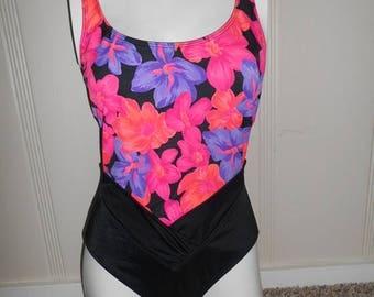 SALE 40% Off 80s 90s    SWIMSUIT  bathingsuit   one piece   floral     neon   black