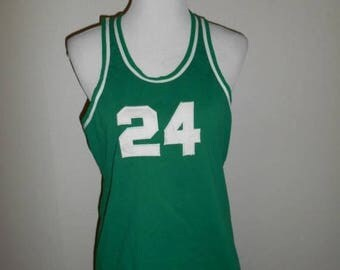 Closing Shop 40%off SALE Vintage 50s Russell Southern Co Jersey shirt  Basketball      green white number # 24